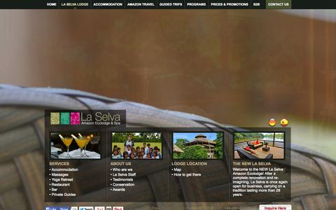 Screenshot of Services Page laselvajunglelodge.com - La Selva Amazon Eco lodge & Resort, Ecuador - captured Oct. 1, 2014