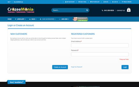 Screenshot of Login Page crazeemania.com - Customer Login - captured Jan. 28, 2016