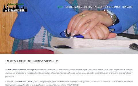 Screenshot of Home Page westminsterschoolofenglish.com - Westminster School of English - captured Jan. 10, 2016