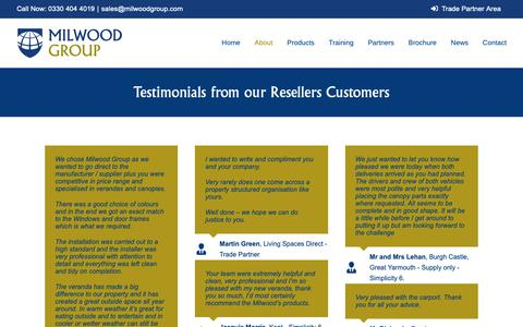 Screenshot of Testimonials Page milwoodgroup.com - Testimonials from our Resellers Customers - captured Oct. 20, 2018