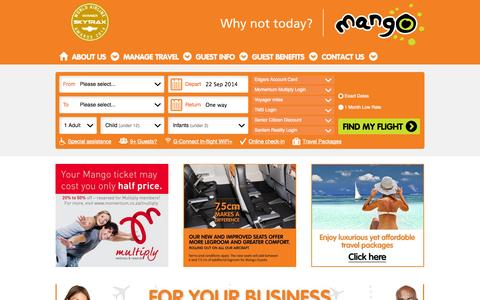 Screenshot of Home Page flymango.com - Flymango.com - Mango Airlines - Why Not Today? - captured Sept. 22, 2014