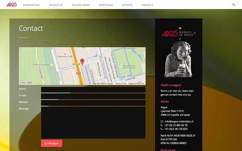 Screenshot of Contact Page argus-rotterdam.nl - Contact | Argus werkt in Beeld | grafisch ontwerp | drukwerk |vormgeving | Rotterdam | Capelle a/d IJssel - captured March 8, 2016