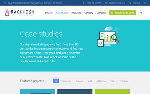 Screenshot of Case Studies Page rackhigh.com - Case Studies | RackHigh Saudi Arabia - captured Oct. 29, 2014