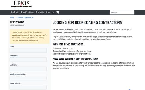 Screenshot of Signup Page lexiscoatings.com - Roof Coating Contractor Sign Up: LEXIS - captured July 19, 2018