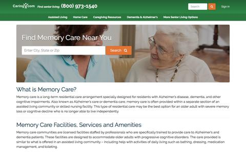 Screenshot of caring.com - Find Alzheimer's and Memory Care Near You - Caring.com - captured Dec. 26, 2017