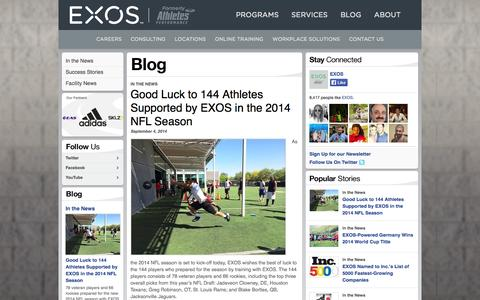 Screenshot of Press Page athletesperformance.com - In the News | Blogs | EXOS formerly Athletes' Performance - captured Sept. 13, 2014
