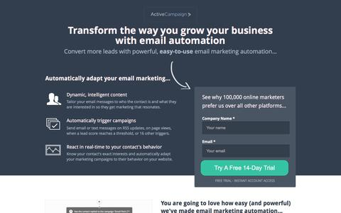 Screenshot of Landing Page activecampaign.com - Email Automation | ActiveCampaign - captured May 11, 2017