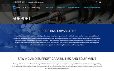 Screenshot of Support Page 3dmach.com - CNC Precision & Prototype Machining Services & Support: 3D Machine - captured Nov. 28, 2016
