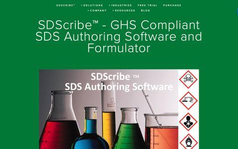 Screenshot of Home Page sdscribe.com - SDScribe™ - GHS Compliant SDS Authoring Software and Formulator — SDS Authoring, Inventory, and Batch Preparation Software - captured Nov. 2, 2018