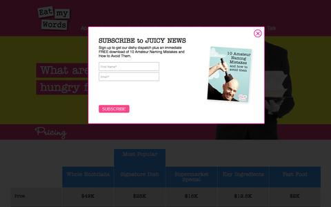 Screenshot of Pricing Page eatmywords.com - Pricing | Eat My Words - captured July 16, 2018