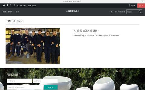 Screenshot of Jobs Page spinceramics.com - Join the Team! - Spin Ceramics - captured Nov. 5, 2017