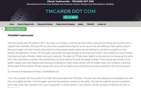 Screenshot of Testimonials Page tmcards.com - Custom playing cards manufacturer TMCARDS DOT COM - Testimonials - captured Oct. 1, 2018