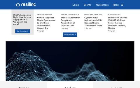 Screenshot of Home Page resilinc.com - Resilinc | Supply Chain Risk Management - captured Nov. 17, 2018