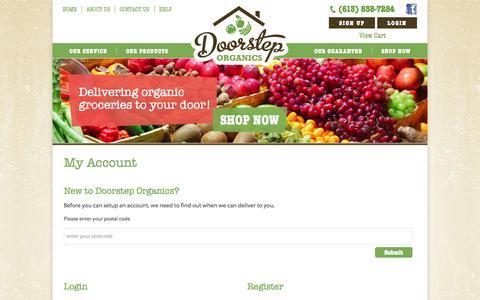 Screenshot of Signup Page Login Page doorsteporganics.ca - My Account   Doorstep Organics - captured Oct. 23, 2014
