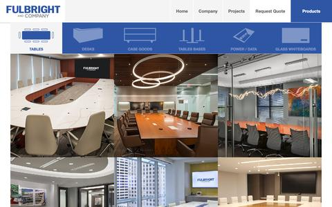 Screenshot of Products Page fulbrightco.com - Conference Tables, Desks, Glass Whiteboards & More - Fulbright & Co - captured Oct. 11, 2018