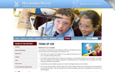 Screenshot of Terms Page holmwood.essex.sch.uk - Independent Co-educational Preparatory School | Colchester, Essex - Terms of Use - captured Oct. 3, 2014