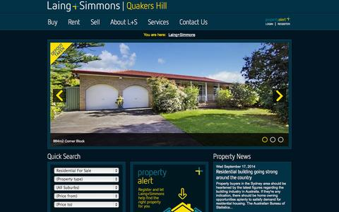 Screenshot of Home Page lsqh.com.au - Real Estate Quakers Hill | Laing+Simmons - captured Oct. 1, 2014