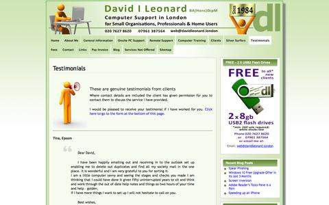 Screenshot of Testimonials Page davidleonard.london - Testimonials • David Leonard - Computer Support in London - captured May 21, 2016