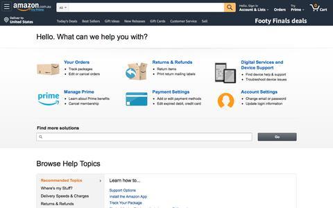 Screenshot of Support Page amazon.com.au - Amazon.com.au Help - captured Sept. 30, 2019