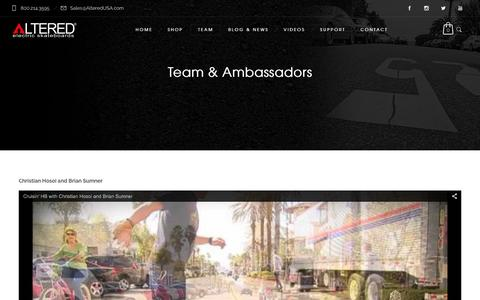 Screenshot of Team Page alteredusa.com - Team & Ambassadors - Electric Skateboards by Altered - captured Jan. 27, 2016
