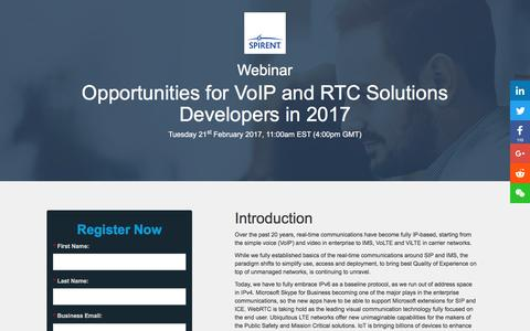 Screenshot of Landing Page spirent.com - Webinar: Opportunities for RTC Solutions Developers in 2017 - captured July 4, 2017