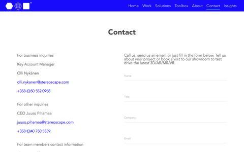 Screenshot of Contact Page stereoscape.com - Contact   Stereoscape - captured Sept. 21, 2018