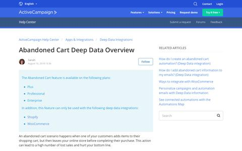 Screenshot of Support Page activecampaign.com - Abandoned Cart Deep Data Overview – ActiveCampaign Help Center - captured June 18, 2019