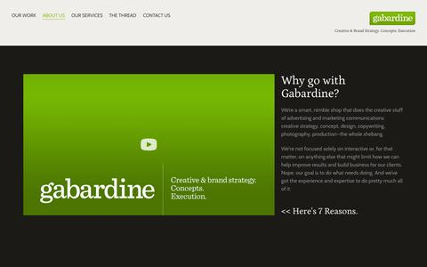 Screenshot of About Page gabardine.com - ABOUT US — Gabardine - captured Sept. 27, 2014