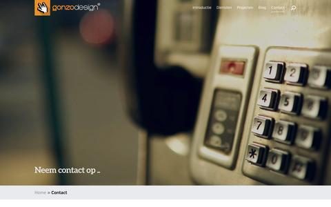 Screenshot of Contact Page gonzodesign.nl - Adresgegevens gonzodesign en Contact Formulier - captured Feb. 2, 2016