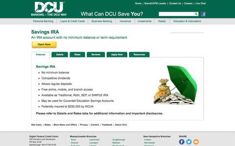 Savings IRA | DCU | Massachusetts | New Hampshire
