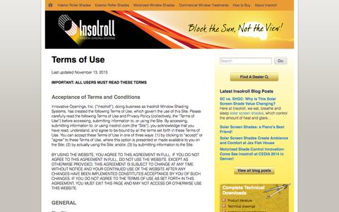 Screenshot of Terms Page insolroll.com - Terms of Use » Insolroll - captured Oct. 6, 2014
