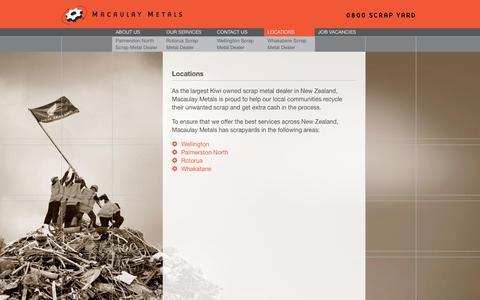 Screenshot of Locations Page macaulaymetals.co.nz - Locations | Macaulay Metals - captured July 21, 2016