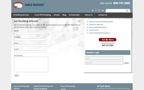 Screenshot of Signup Page shrednations.com - Get Shredding Referrals Today | Shred Nations - captured Oct. 1, 2014