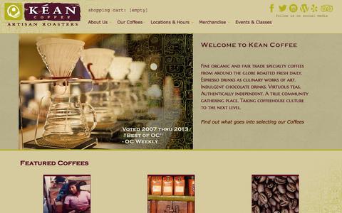 Screenshot of Home Page keancoffee.com - Welcome to Kéan Coffee - captured Sept. 30, 2014