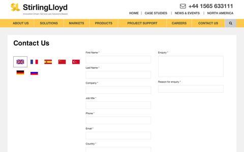 Screenshot of Contact Page stirlinglloyd.com - Contact Us - Stirling Lloyd - captured Dec. 14, 2016