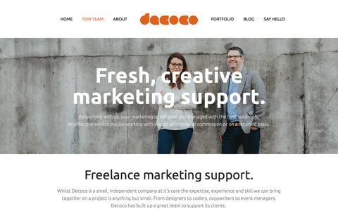Screenshot of Team Page decoco.co - Our Team — Decoco - captured Jan. 6, 2018