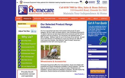 Screenshot of Products Page homecareequipment.com.au - Product Range - captured Jan. 31, 2016