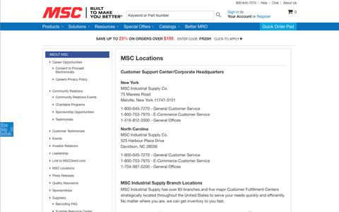 Screenshot of Locations Page mscdirect.com - MSC Industrial Supply Co. | Locations - captured Feb. 9, 2018