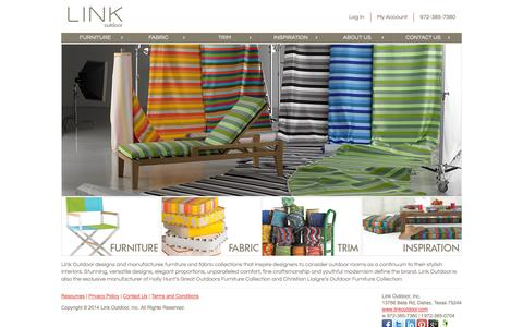 Screenshot of Home Page linkoutdoor.com - Find Luxury Patio Furniture and Outdoor Fabric - Link Outdoor - captured Sept. 30, 2014