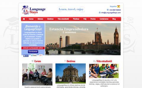 Screenshot of Home Page Site Map Page languagestays.com - ¡Bienvenido! | LanguageStaysLanguageStays | Aprende idiomas, viaja y disfruta - captured Sept. 30, 2014