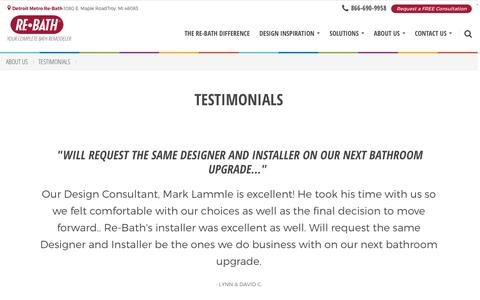 Screenshot of Testimonials Page rebath.com - Testimonials | [SiteProperty:SiteURL] Bathroom Remodeling | About Us - captured Dec. 1, 2016