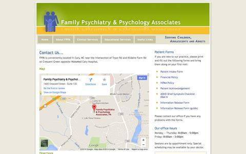 Screenshot of Contact Page Maps & Directions Page fppa.com - Contact Us - Family Psychiatry & Psychology Associates - captured Oct. 25, 2014