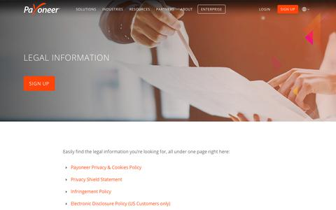 Screenshot of Terms Page payoneer.com - Legal Information | Payoneer - captured March 27, 2019