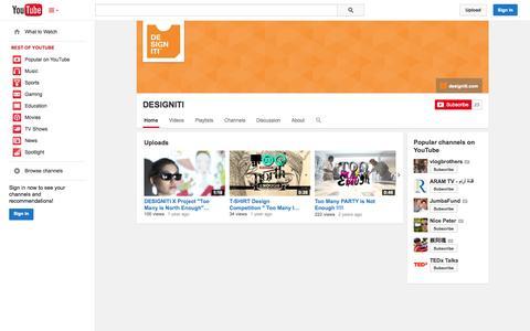 Screenshot of YouTube Page youtube.com - DESIGNITI  - YouTube - captured Oct. 26, 2014