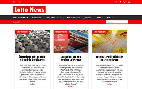 Screenshot of Home Page lotto-news.de - Lotto News: Aktuelle Nachrichten und Lottozahlen - captured Oct. 30, 2017