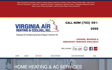 Screenshot of Services Page virginiaairheatingandcooling.com - Heat & AC Service | Gainesville, VA  | VA Air Heating & Cooling, Inc - captured Feb. 12, 2018
