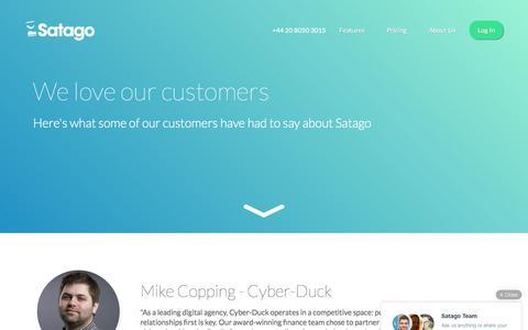 Screenshot of Testimonials Page satago.com - Satago | Testimonials - captured Feb. 25, 2016