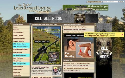 Screenshot of Home Page longrangehunting.com - Long Range Hunting Online Magazine - captured Sept. 19, 2014