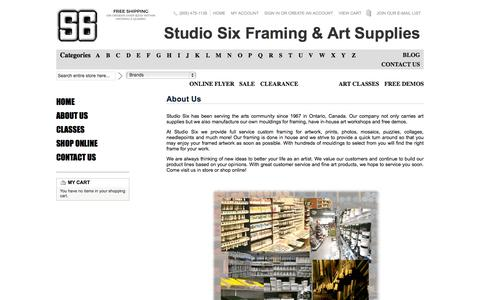 Screenshot of About Page studio-six.com - Art Supplies Canada About  Us - captured Aug. 16, 2015
