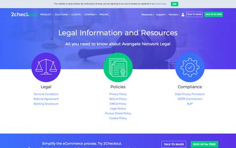 Screenshot of Terms Page 2checkout.com - Legal Information and Resources - captured Nov. 23, 2018